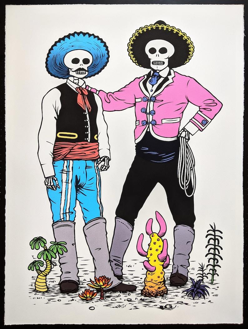 Vaqueros Mexican Cowboys Day of the Dead linocut print image 0