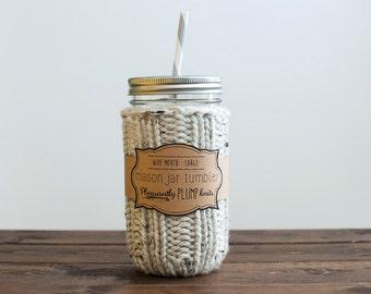 Mason Jar Tumbler Kit + Knitted Cozy, Jar, Lid, & Reusable Straw
