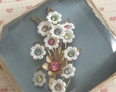 Vintage Marked Emmons Rhinestone Flower Spray Brooch, Pin with Original Jewelry Box Mid-Century