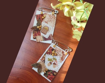 Stitch & Quilt Textile Fragment Pin Kits Autumn Theme