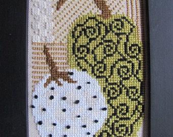 White Pumpkin Patch Retro counted cross stitch pattern