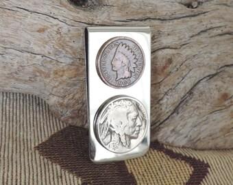 Money Clip 1936 Buffalo Nickle, 1906 Indian Head Penny Silvertone - Indian Side, Flat Back