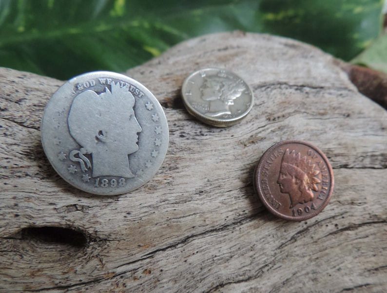 3 Golf Markers made with Old US Coins Barber Quarter, Mercury Dime, Indian  Head Penny