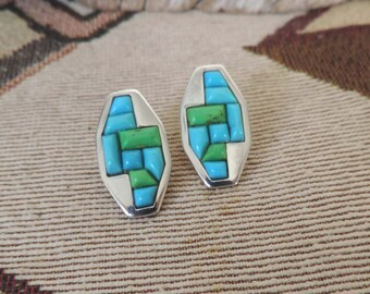 DTR Jay King Vintage Inlaid Turquoise Sterling Silver Post Earrings