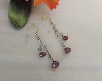 Simple Long  Earrings Purple Fresh Water Pearls, Purple Swarovski Beads