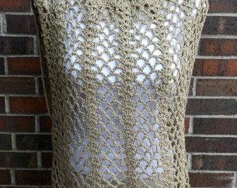 Crochet Summer Top, Plus Size Top, Crochet Tunic, Festival Top, Cotton Tunic