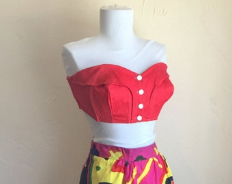 Reserved - 50s RED Sun Top Vixen Bustier - bullet Bra Swim
