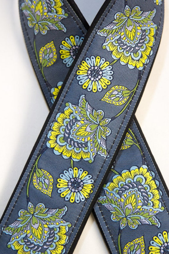 "Custom Camera Strap 2"" Wide Stawberry Flower Blue Yellow"
