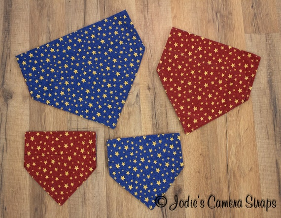 Dog Bandanas - Slip Over Collar - Reversible - Stars Red Blue