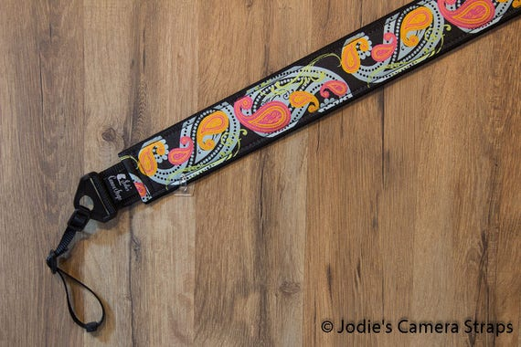 Camera Strap 2 in Wide Custom Padded Paisley Blue Pink Orange DSLR SLR 6452