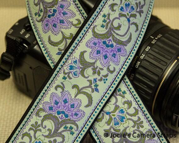 "Custom Camera Strap 2"" Wide Leaf Flower Lilac Green on Mint Green DSLR SLR P&S"