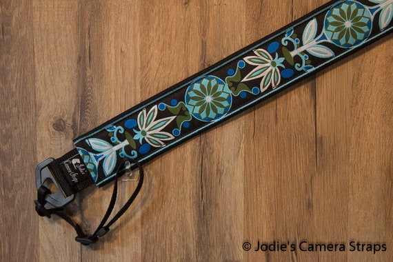 "Camera Strap Pinwheel Blue Green 2"" Wide Custom Padded Fits DSLR SLR"