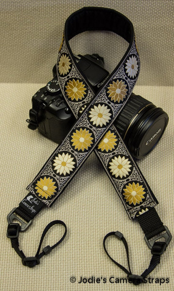 "Camera Strap Pinwheel Daisies Gold Black 1.5"" Wide Custom Padded Fits DSLR SLR 3940"