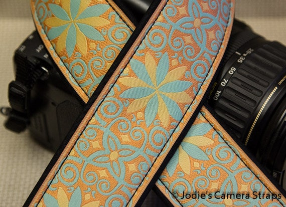 "Custom Camera Strap 2"" Wide Pinwheel Coral Aqua DSLR SLR P&S 5586"