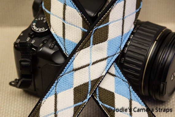 "Camera Strap Argyle Blue Brown 1.5"" Wide Custom Padded Fits DSLR SLR 4066"