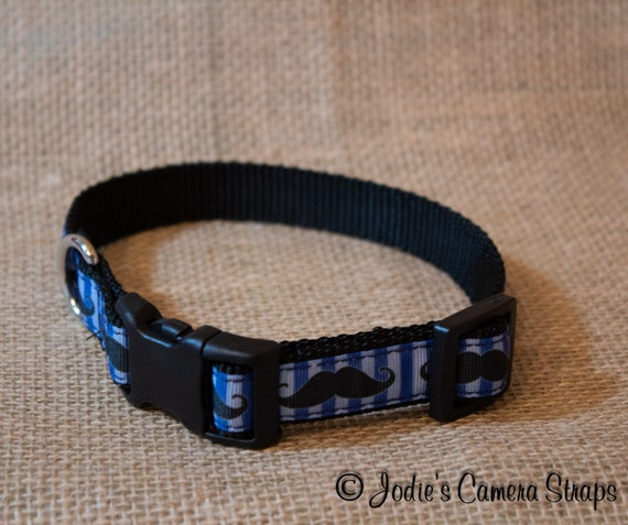 "Dog Collar - Blue Black Mustache - Contoured Buckle - 5/8"" wide"