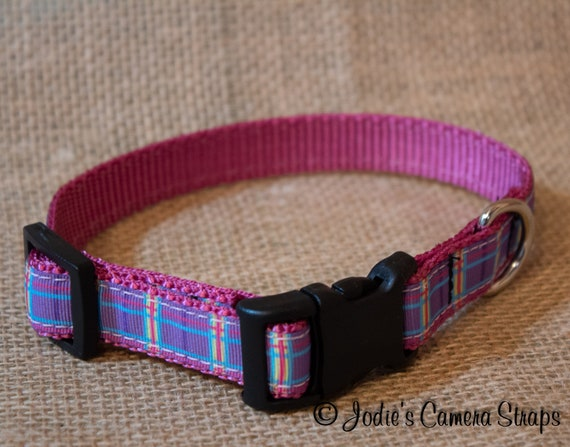 "Dog Collar - Purple Pink Plaid - Contoured Buckle - 5/8"" wide"