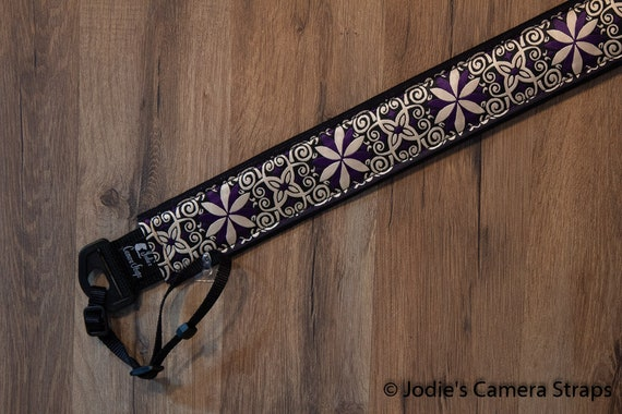 "Custom Camera Strap 2"" Wide Pinwheel Purple Cream Black DSLR SLR P&S"