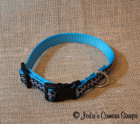 "Dog Collar - Blue Black White Geometric - Contoured Buckle - 5/8"" wide"