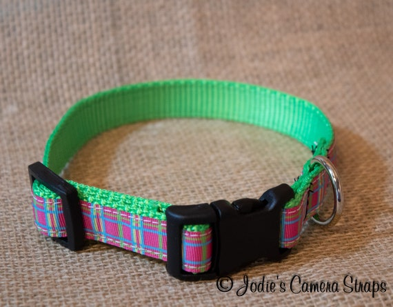 "Dog Collar - Pink Green Plaid - Contoured Buckle - 5/8"" wide"