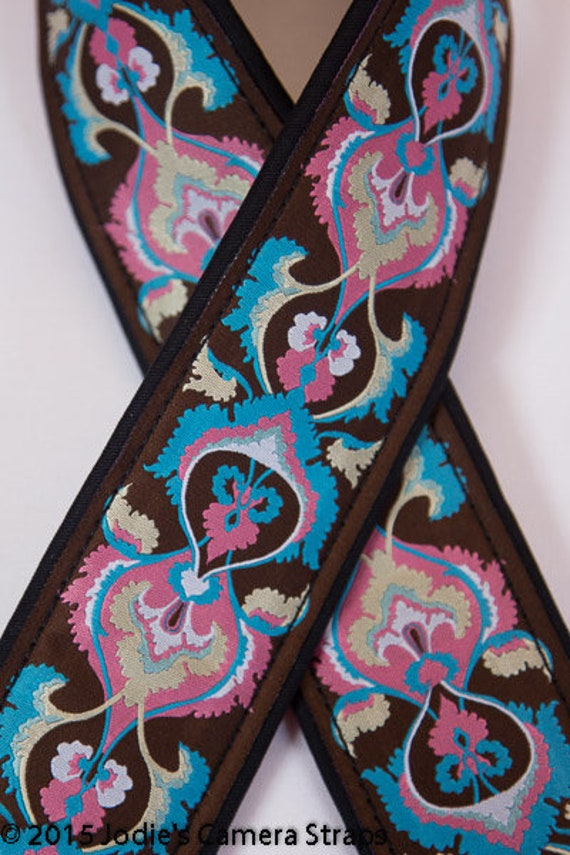 Camera Strap 2 in Wide Custom Padded Brocade Vines Pink Turquoise Brown DSLR SLR 5684