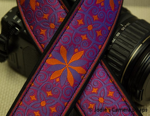 "Custom Camera Strap 2"" Wide Pinwheel Purple Orange on Pink DSLR SLR P&S"