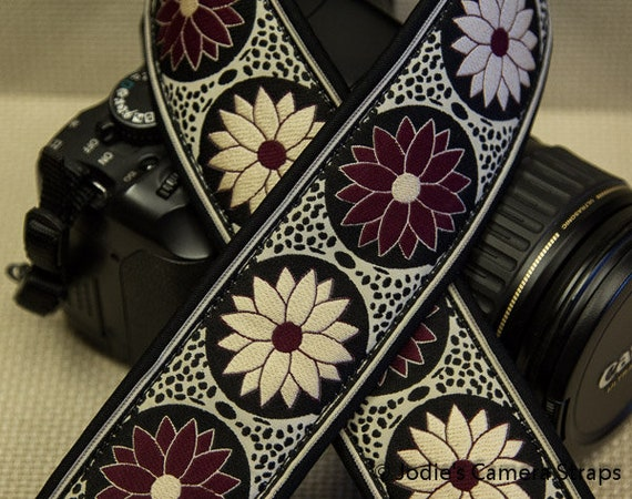 "Custom Camera Strap 2"" Wide Pinwheel Burgund Cream Black DSLR SLR P&S"