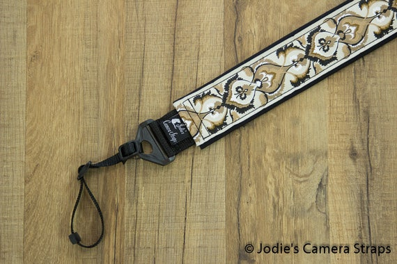 Camera Strap 2 in Wide Custom Padded Brocade Vines Brown Tan Cream DSLR SLR