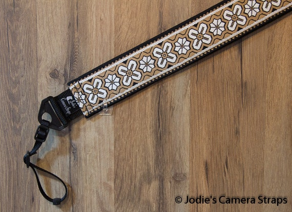 "Custom Camera Strap 2"" Wide Dresden Star White Black Khaki"