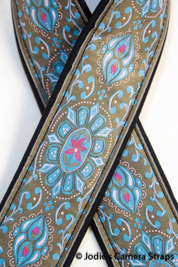 """Custom Padded Camera Strap 2"""" Wide Flower Medallion Blue on Khaki"""