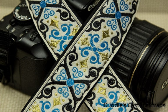 "Camera Strap Scrolls Blue Black on Cream 1.5"" Wide Custom Padded Fits DSLR SLR 4296"