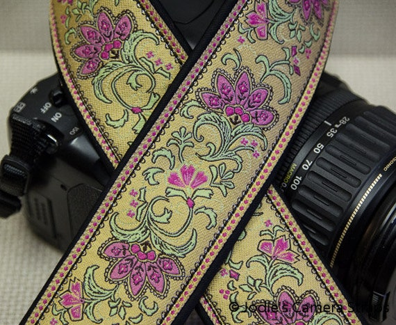 "Custom Camera Strap 2"" Wide Leaf Flower Pink on Antique Yellow DSLR SLR P&S"