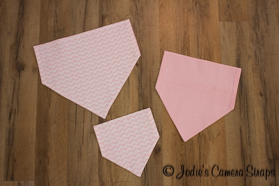 Dog Bandanas - Slip Over Collar - Reversible - Chevron Dots Pink White