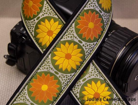 "Custom Camera Strap 2"" Wide Pinwheel Orange Yellow Green DSLR SLR P&S"
