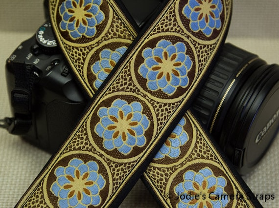 Zinnia Camera Strap Blue on Brown Custom Padded 2 in. Wide DSLR SLR 3938