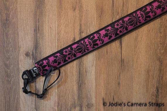 "Damask Custom Padded Camera Strap in Magenta and Black DSLR SLR 1.5"" wide 6730"