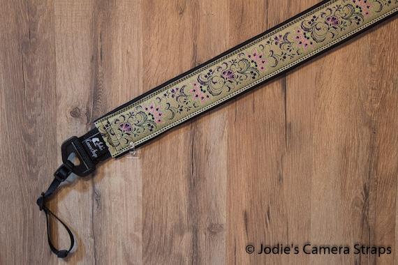 """Custom Camera Strap 2"""" Wide Leaf Flower Sage Green Eggplant Purple DSLR SLR P&S"""