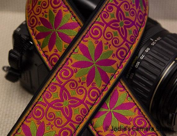 """Custom Camera Strap 2"""" Wide Pinwheel Hot Pink Green Orange DSLR SLR P&S 5588"""