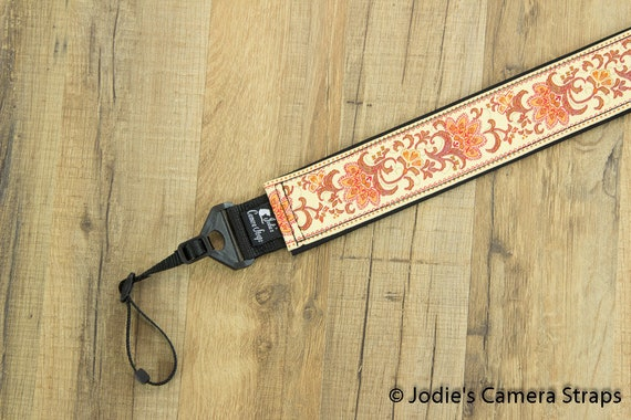 "Custom Camera Strap 2"" Wide Leaf Flower Coral Yellow Red DSLR SLR P&S"