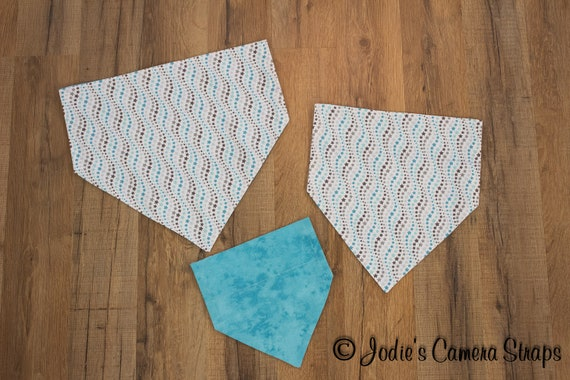 Dog Bandanas - Slip Over Collar - Reversible - Wavy Stars Turquoise White Gray