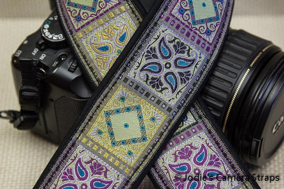Patchwork Camera Purple Lime Turquoise Strap 2 in Wide Custom Padded Fits DSLR SLR 5583