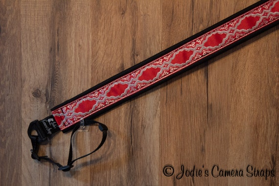 "Camera Strap Medallions Silver on Red 1.5"" Wide Custom Padded Fits DSLR SLR"