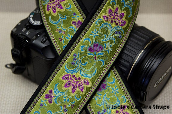 "Custom Camera Strap 2"" Wide Leaf Flower Lime Green Fuchsia Turquoise DSLR SLR P&S"