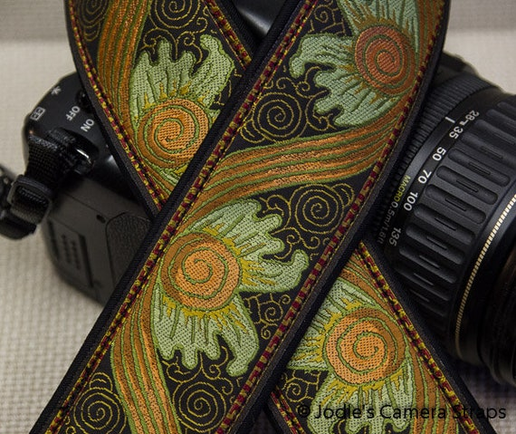 "Custom Camera Strap 2"" Wide Baroque Orange Brown DSLR SLR P&S"