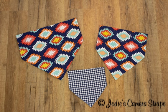 Dog Bandanas - Slip Over Collar - Reversible - Aztec Houndstooth Navy Orange