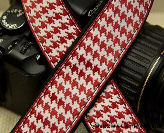 "Camera Strap Houndstooth Red in 1.5"" Wide Custom Padded Fits DSLR SLR 3593"