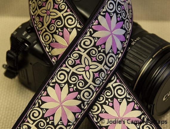 "Custom Camera Strap 2"" Wide Pinwheel Pink on Black DSLR SLR P&S 5497"