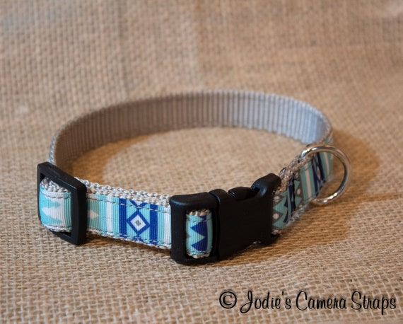 "Dog Collar - Blue Gray Geometric - Contoured Buckle - 5/8"" wide"