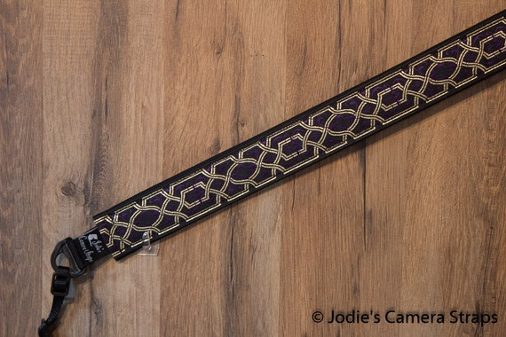 "Camera Strap Lattice Metallic Gold Purple 1.5"" Wide Custom Padded Fits DSLR SLR"