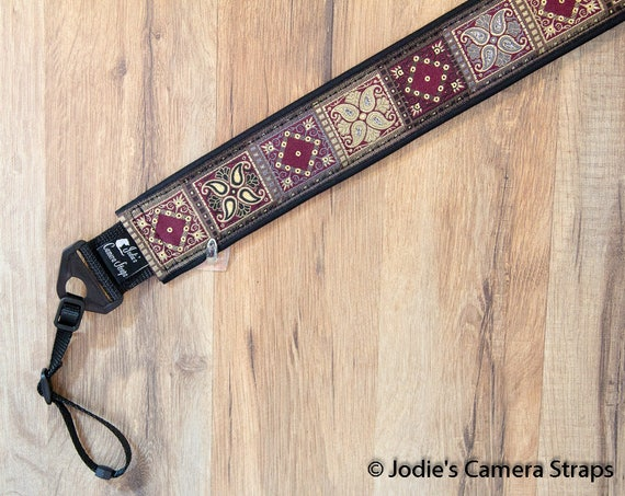 Patchwork Camera Burgundy Strap 2 in Wide Custom Padded Fits DSLR SLR 5584 6328